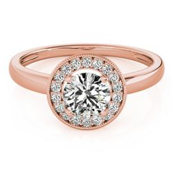0.90 CTW Certified VS/SI Diamond Solitaire Halo Ring 18K Rose Gold - REF-187K5R - 26315