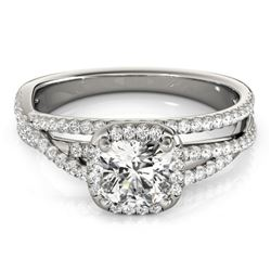 1 CTW Certified VS/SI Cushion Diamond Solitaire Halo Ring 18K White Gold - REF-183F3M - 27090
