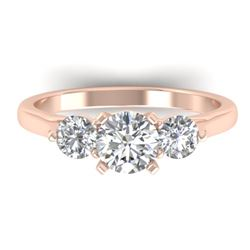 1.37 CTW Certified VS/SI Diamond Art Deco 3 Stone Ring 14K Rose Gold - REF-212T9X - 30484