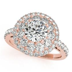 1.5 CTW Certified VS/SI Diamond Solitaire Halo Ring 18K Rose Gold - REF-180R2K - 26492