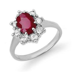 2.50 CTW Ruby & Diamond Ring 14K White Gold - REF-70W9H - 13193
