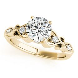 0.90 CTW Certified VS/SI Diamond Solitaire Antique Ring 18K Yellow Gold - REF-195W3H - 27422