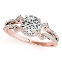 0.90 CTW Certified VS/SI Diamond Solitaire Ring 18K Rose Gold - REF-134T9X - 27967