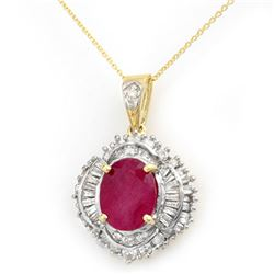 6.26 CTW Ruby & Diamond Pendant 14K Yellow Gold - REF-139F6M - 13029