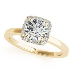 0.90 CTW Certified VS/SI Diamond Solitaire Halo Ring 18K Yellow Gold - REF-199T8X - 26277