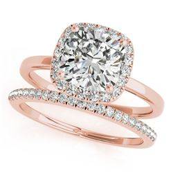 0.80 CTW Certified VS/SI Cushion Diamond 2Pc Set Solitaire Halo 14K Rose Gold - REF-143X5T - 31407