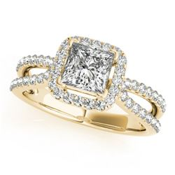 0.85 CTW Certified VS/SI Princess Diamond Solitaire Halo Ring 18K Yellow Gold - REF-141T5X - 27131