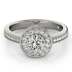 0.80 CTW Certified VS/SI Diamond Solitaire Halo Ring 18K White Gold - REF-130W4H - 26901