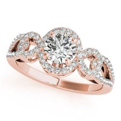 1.15 CTW Certified VS/SI Diamond Solitaire Halo Ring 18K Rose Gold - REF-212W2H - 26683
