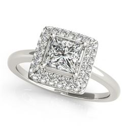 1.05 CTW Certified VS/SI Princess Diamond Solitaire Halo Ring 18K White Gold - REF-238M4F - 27162