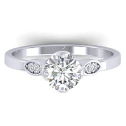 1.05 CTW Certified VS/SI Diamond Solitaire Art Deco Ring 14K White Gold - REF-278R8K - 30561