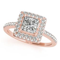 0.85 CTW Certified VS/SI Princess Diamond Solitaire Halo Ring 18K Rose Gold - REF-136W4H - 27139