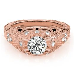 0.97 CTW Certified VS/SI Diamond Solitaire Antique Ring 18K Rose Gold - REF-226N2Y - 27265