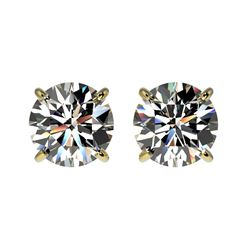 1.59 CTW Certified H-SI/I Quality Diamond Solitaire Stud Earrings 10K Yellow Gold - REF-154X5T - 366