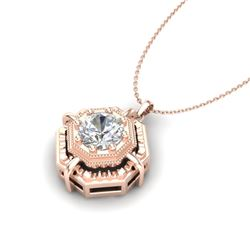 0.75 CTW VS/SI Diamond Solitaire Art Deco Stud Necklace 18K Rose Gold - REF-202F5M - 36879
