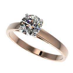 0.99 CTW Certified H-SI/I Quality Diamond Solitaire Engagement Ring 10K Rose Gold - REF-140K2R - 364