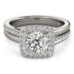 0.85 CTW Certified VS/SI Diamond Solitaire Halo Ring 18K White Gold - REF-147K3R - 26838