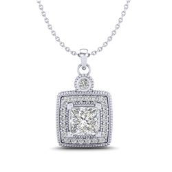 0.91 CTW Princess VS/SI Diamond Art Deco Stud Necklace 18K White Gold - REF-145F5M - 37130