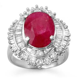 6.15 CTW Ruby & Diamond Ring 18K White Gold - REF-178M8F - 13130