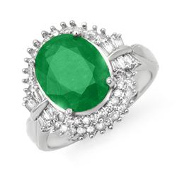 5.04 CTW Emerald & Diamond Ring 14K White Gold - REF-127F3M - 14097