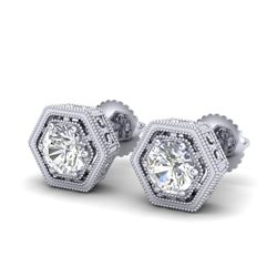 1.07 CTW VS/SI Diamond Solitaire Art Deco Stud Earrings 18K White Gold - REF-190W9H - 36899