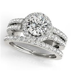1.58 CTW Certified VS/SI Diamond 2Pc Wedding Set Solitaire Halo 14K White Gold - REF-244H4W - 31133