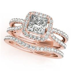 1.71 CTW Certified VS/SI Princess Diamond 2Pc Set Solitaire Halo 14K Rose Gold - REF-446M5F - 31344