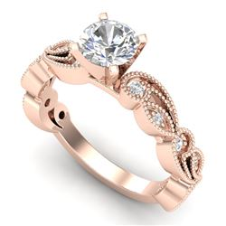 1.01 CTW VS/SI Diamond Solitaire Art Deco Ring 18K Rose Gold - REF-218N2Y - 37317