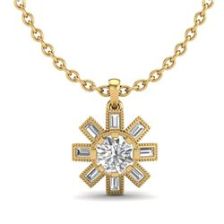 1.33 CTW VS/SI Diamond Solitaire Art Deco Necklace 18K Yellow Gold - REF-220F9M - 37069