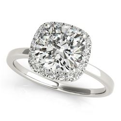 0.92 CTW Certified VS/SI Cushion Diamond Solitaire Halo Ring 18K White Gold - REF-226M5F - 27216