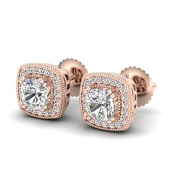 1.25 CTW Cushion Cut VS/SI Diamond Art Deco Stud Earrings 18K Rose Gold - REF-218R2K - 37035