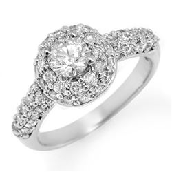 1.35 CTW Certified VS/SI Diamond Ring 14K White Gold - REF-127X8T - 11294