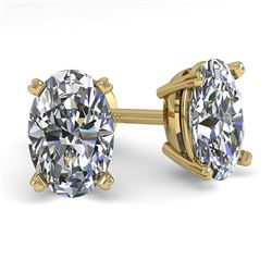 1.0 CTW Oval Cut VS/SI Diamond Stud Designer Earrings 14K Yellow Gold - REF-148T2X - 38360