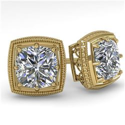 1.0 CTW VS/SI Cushion Cut Diamond Stud Solitaire Earrings Deco 18K Yellow Gold - REF-187H5W - 35965