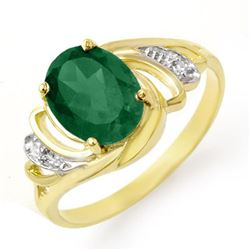 2.14 CTW Emerald & Diamond Ring 14K Yellow Gold - REF-35M3F - 13586