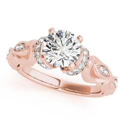 0.95 CTW Certified VS/SI Diamond Solitaire Antique Ring 18K Rose Gold - REF-200M5F - 27307