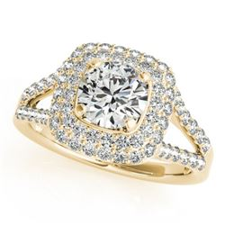 1.35 CTW Certified VS/SI Diamond Solitaire Halo Ring 18K Yellow Gold - REF-172K2R - 26463