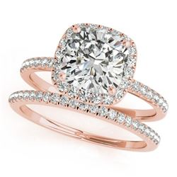 0.93 CTW Certified VS/SI Cushion Diamond 2Pc Set Solitaire Halo 14K Rose Gold - REF-157H6W - 31398