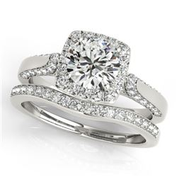 1.64 CTW Certified VS/SI Diamond 2Pc Wedding Set Solitaire Halo 14K White Gold - REF-228W8H - 30708