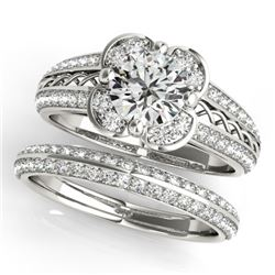 1.21 CTW Certified VS/SI Diamond 2Pc Wedding Set Solitaire Halo 14K White Gold - REF-162W2H - 31235