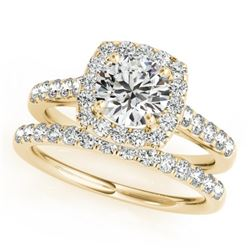 1.45 CTW Certified VS/SI Diamond 2Pc Wedding Set Solitaire Halo 14K Yellow Gold - REF-160N2Y - 30716
