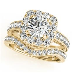 1.55 CTW Certified VS/SI Diamond 2Pc Wedding Set Solitaire Halo 14K Yellow Gold - REF-234R8K - 30980