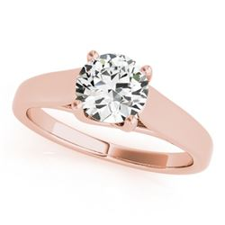 1 CTW Certified VS/SI Diamond Solitaire Wedding Ring 18K Rose Gold - REF-357Y3N - 28153