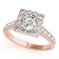 2 CTW Certified VS/SI Diamond Solitaire Halo Ring 18K Rose Gold - REF-430W2H - 26833