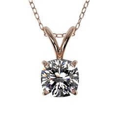 0.50 CTW Certified VS/SI Quality Cushion Cut Diamond Necklace 10K Rose Gold - REF-74M5F - 33170