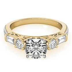 2 CTW Certified VS/SI Diamond Pave Solitaire Ring 18K Yellow Gold - REF-452M2F - 28109