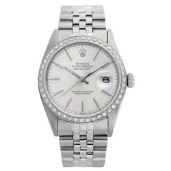 Rolex Men's Stainless Steel, QuickSet, Index Bar Dial with Diamond Bezel - REF-441N8F