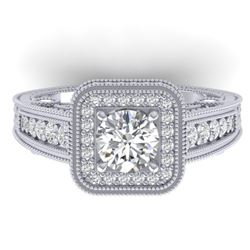 2 CTW Certified VS/SI Diamond Art Deco Halo Ring 14K White Gold - REF-258Y2N - 30495