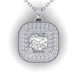 1.60 CTW Princess VS/SI Diamond Art Deco Stud Micro Halo Necklace 14K White Gold - REF-428T2X - 3045