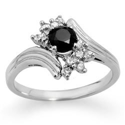 0.75 CTW Vs Certified Black & White Diamond Ring 10K White Gold - REF-36M2F - 14023